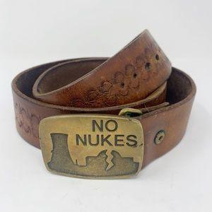 Boho Vintage Tooled Leather Belt No Nukes